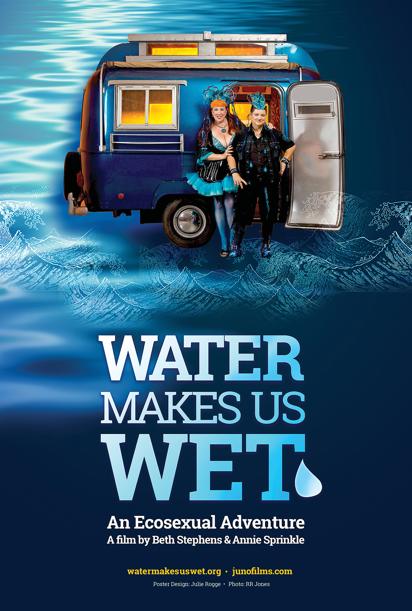 Film poster showing Beth Stephens and Annie Sprinkle and water