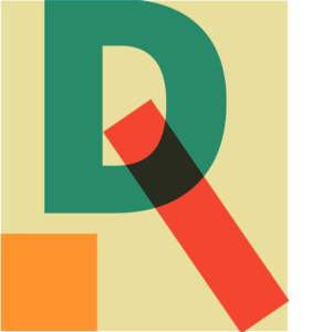 Rogge Design icon, an abstract R contructed from the letter D plus a square and a rectangle