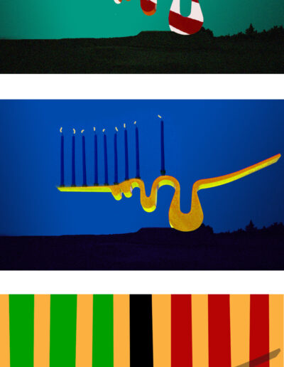 Three holiday variations of the wave sculpture